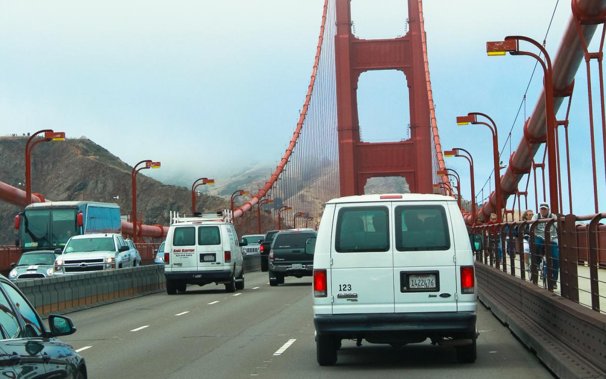 Van driving across the Golden Gate Bridge